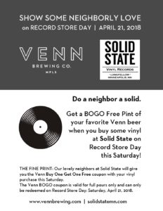 RECORD STORE DAY - BOGO Free Pint @ Venn Brewing Company